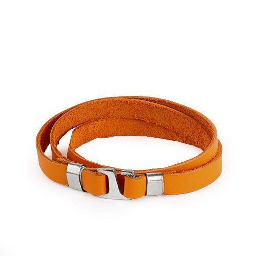 925K Sterling Silver Men Bracelet Genuine Leather Handmade Orange Bracelet Mens…
