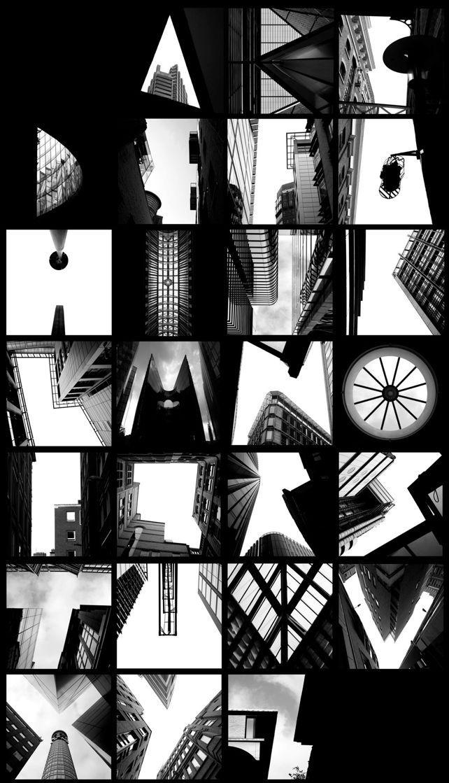 Titre: ALPHATECTURE by Peter Defty, UK. Le sujet représenté est des lettres photographier a l'aide de l'ombrages des bâtiments. La technique est la photographie. Les couleurs sont noir et blanc. La texture sont réels sont la pierres et vitraux. L'organisation est la superposition. Je ressent de la curiosité car j'ai l'impressions d'être interpeller a cause du design et aussi trouver les lettres.