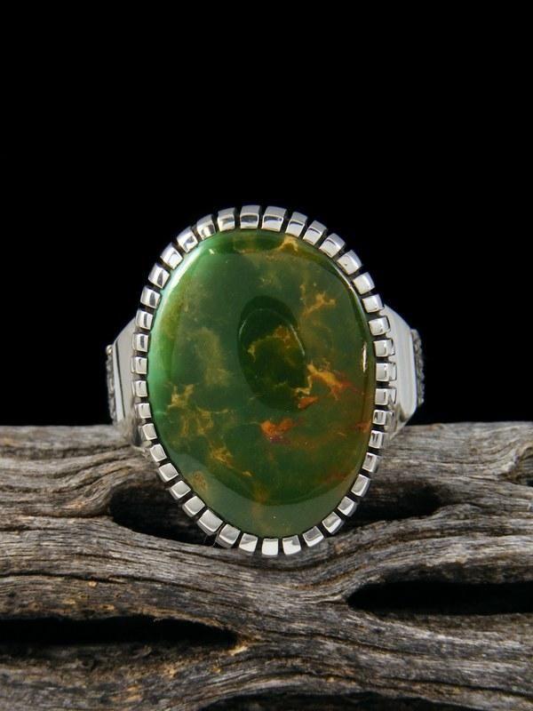 Craig Agoodie Natural Manassa Turquoise Sterling Silver Ingot Ring, Size 8