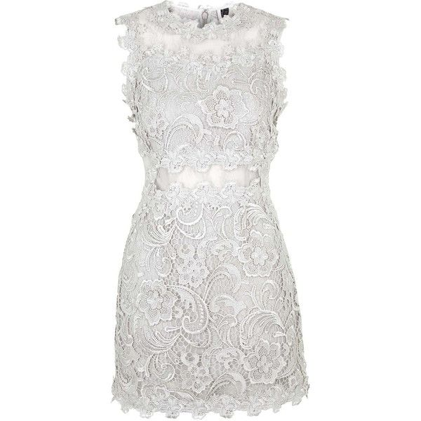 TOPSHOP Structured Lace Bodycon Dress (£60) ❤ liked on Polyvore featuring dresses, short dresses, vestidos, silver, bodycon dress, bodycon mini dress, lace mini dress, short white cocktail dress and white fitted dress