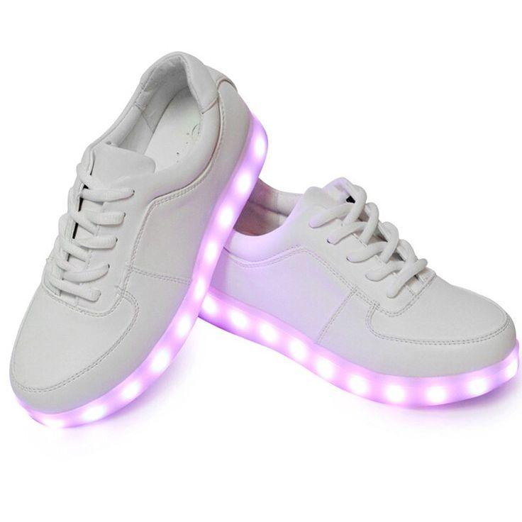 Zapatillas Con Luces LED Bajos Blanco De Mujer