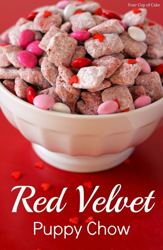 Valentine Puppy Chow  and Valentine's Day Food Ideas for Kids and Adults