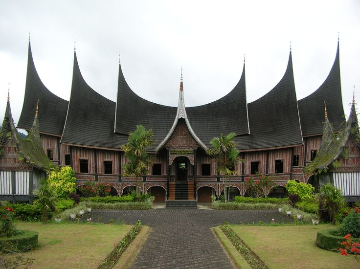 Unique roof on Rumah Gadang, Minangkabau traditional house | Indonesia culture.