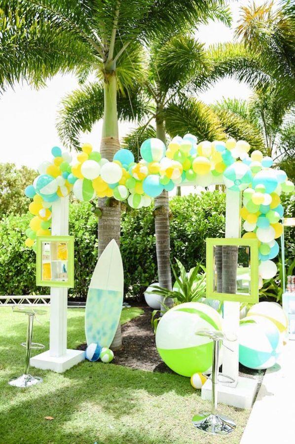 Surfs Up Beach Birthday Party Via Kara S Party Ideas Anninspired Com In 2020 Beach Party Decorations Beach Birthday Party Beach Birthday