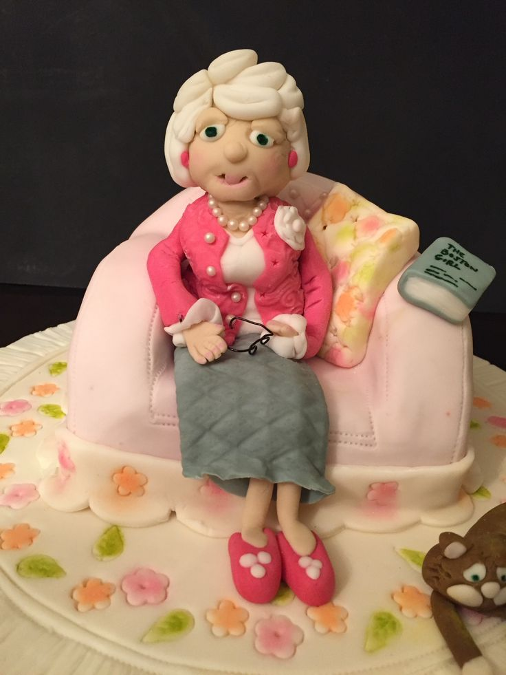 Old Lady Knitting Cake Topper : Lady of leisure chair is made chocolate cake with