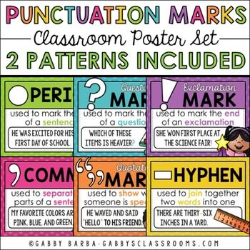 Punctuation Marks Poster Set:These printables feature 9 punctuation marks with sentence examples and coordinating clip art. Every poster is included in both a polka dot and chevron version.This set includes:9 Posters (PDF Files)-Period-Comma-Quotation Marks-Question Mark-Exclamation Mark-Hyphen-Apostrophe-Colon-SemicolonFor a chalkboard version, click here.Check out my matching products here.Check out my blog: gabbysclassrooms.com.Follow me on social media: Facebook Instagram…