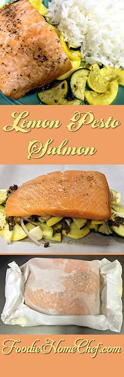 Lemon Pesto Salmon - Easy to put together & goes from oven to table in no time. The cooking method insures that the salmon is very tender, succulent, delicious & the cleanup is basically nonexistent. which is always a plus! For a complete meal, serve with Jasmine Rice on the side. --------- #Food #Cooking #Recipes #Recipe #Cuisine #GreatFood #HomeCooking #ComfortFood #Salmon #SalmonRecipes #Seafood #SeafoodRecipes #PacketRecipes #SheetPanSalmon #SheetPanRecipes #LemonPestoSalmon