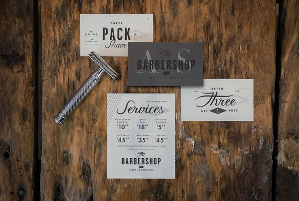 Art + Science Barbershop Identity by Firebelly Design