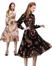 XL! Европейский Американский Стиль Новая Мода 2016 Осень Платье Женщины Лук Воротник Старинные Ретро Цветочный Печати С Длинным Рукавом Платье новинки(China (Mainland))