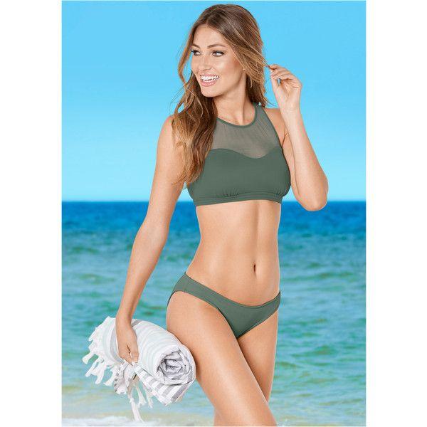 Venus Women's Mesh High Neck Bikini Top Sport Bikini Tops ($39) ❤ liked on Polyvore featuring swimwear, bikinis, bikini tops, green, high-neck bikinis, strappy bikini top, strappy bikinis, high neck swimsuit top and mesh bikini
