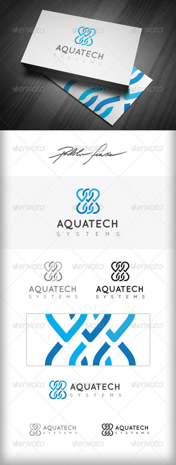 Aquatic Technology Logo - Water Drops Logo