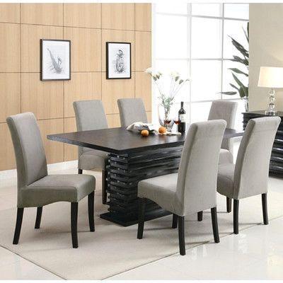 Infini Furnishings Jordan 7 Piece Dining Set Upholstery: Light Gray