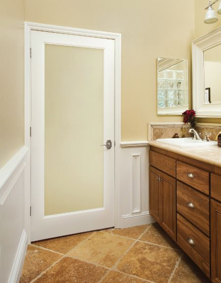 White Laminate Door With Glass Insert By Homestory Doors