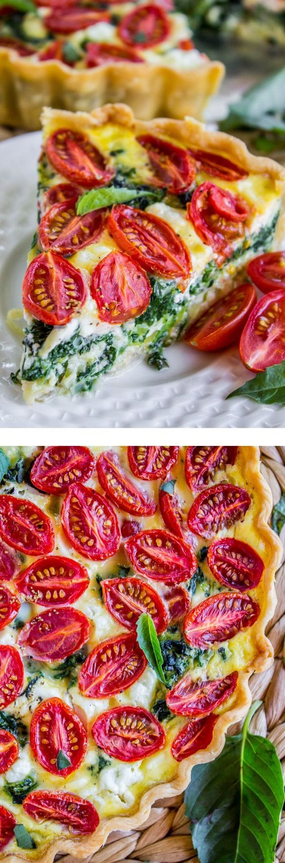 Cherry Tomato, Leek, and Spinach Quiche from The Food Charlatan. Quiche is the perfect for spring! This vegetarian recipe combines cherry tomatoes, leeks, spinach and goat cheese to make a great break