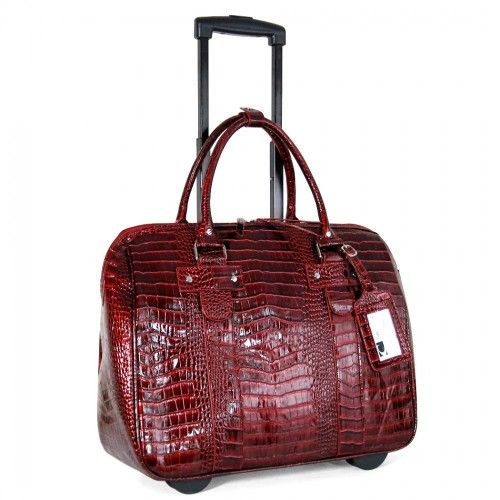 CABRELLI: PATENT CROCO ROLLING LAPTOP BAG-RED