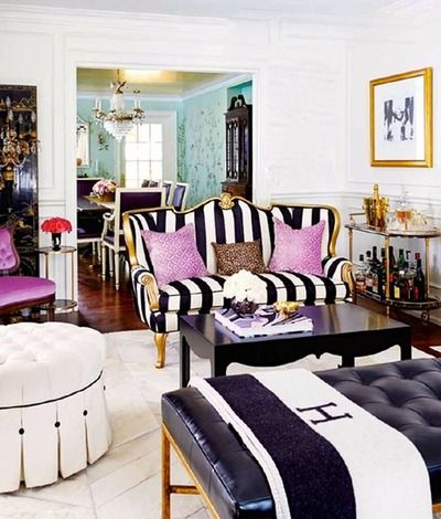 Beautiful!! Black & white stripes, gold, pink, bar cart, hermes.