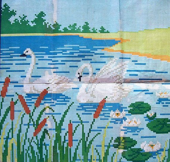 Swan Lake. Vintage Soviet Cross Stitch Embroidery. Pattern. Counted Chart. Landscape with swans 1954
