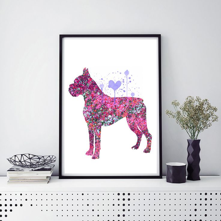 Female Boxer dog Watercolor Print