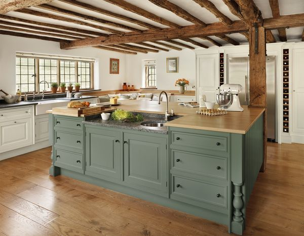 rustic pilaster kitchen with hand painted elements