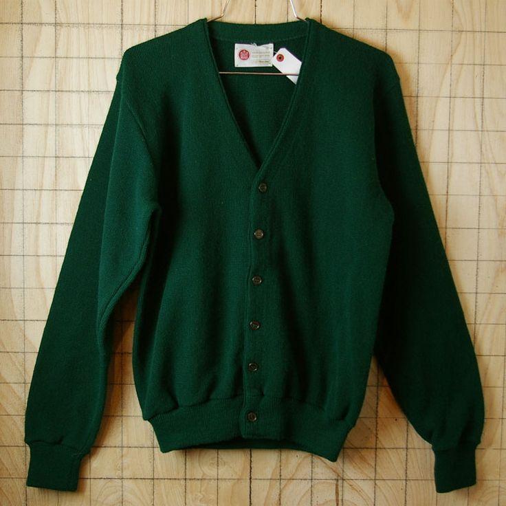 【Sears Men's store】USA(アメリカ)製古着グリーン(緑アクリルニットVネックカーディガン|サイズM|ca-38