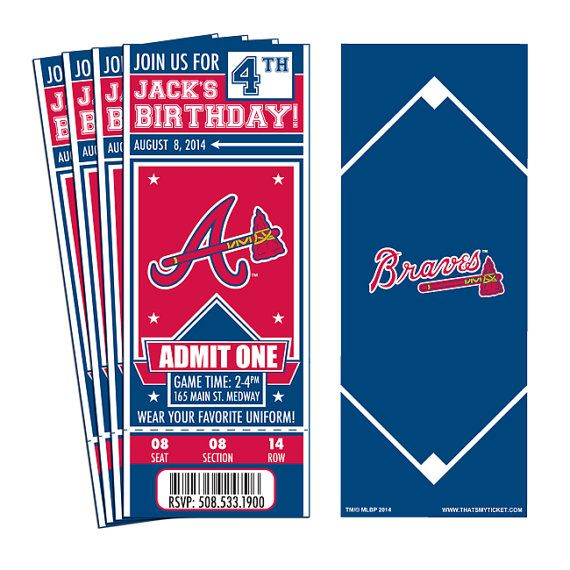 Having a birthday party for a Braves fan? How better to show that fans love of the game than with a party invitation that looks like a ticket! Our