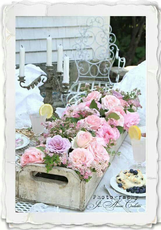 Arreglo flores vintage.