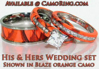 Blaze Orange Hunters Camo Rings. Wedding ...