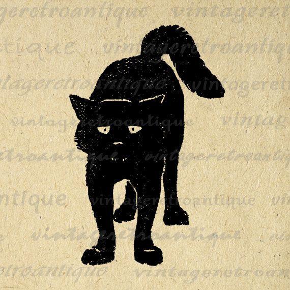 Digital Graphic Black Cat Download Kitten by VintageRetroAntique