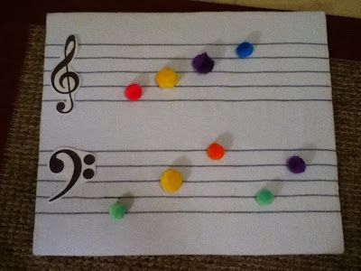 flannel staff with pom-pom notes--these would stick much better for my tossing games than my current whiteboard staff!