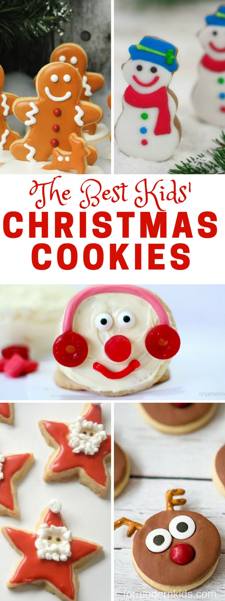 More than 4o of the best Christmas cookies kids will love making! Reindeer cookies, snowman cookies, santa cookies and so many more fun cookies for the holidays. You can even make one each night as a countdown for the 25 days of Christmas. #ChristmasCookies #Christmas