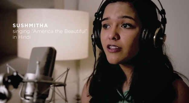 "Sushmitha, you go girl!  This young Indian American, who sang ""America the Beautiful"" in one of India's official languages - Hindi - in the Super Bowl Coca Cola Ad commercial 