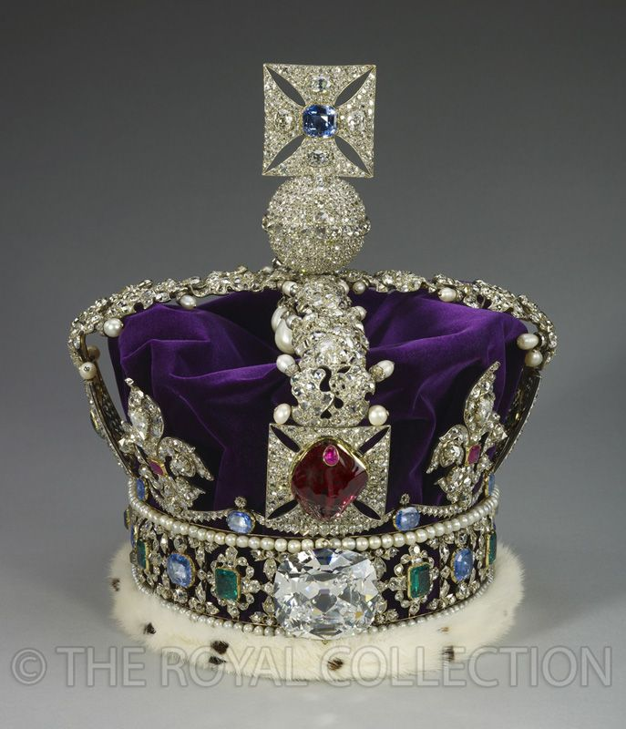 The World Famous Crown Jewels Of England At The Tower of London.The Imperial State Crown (1937) is worn by the Queen at each State Opening of Parliament. One of the youngest crowns in the collection, it holds a number of much older gems. The crown was remade in 1937 after the previous frame weakened under the weight of the gemstones.