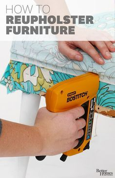 Easily update dated furniture with fresh fabric. Use these basic upholstery techniques to get your furniture looking fashionable: http://www.bhg.com/decorating/do-it-yourself/fabric-paper-projects/diy-chair-upholstery-guide/?socsrc=bhgpin030714upholstery