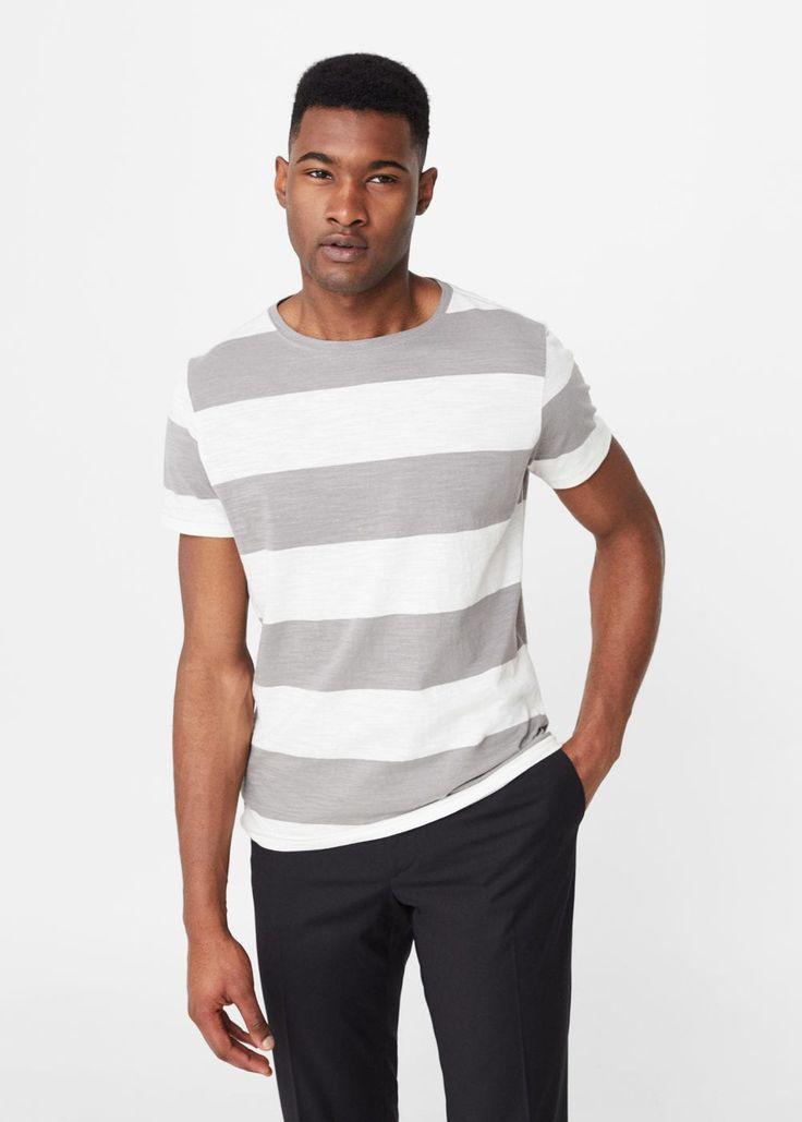 Gestreept katoenen t-shirt | MANGO MAN