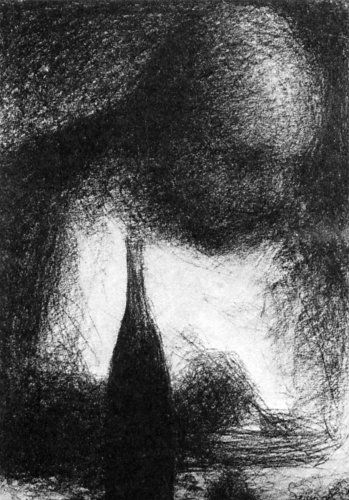 Georges Seurat Drawings- even though the facial features are somewhat defined, it kinda looks spooky because he isn't giving us any sharp details.