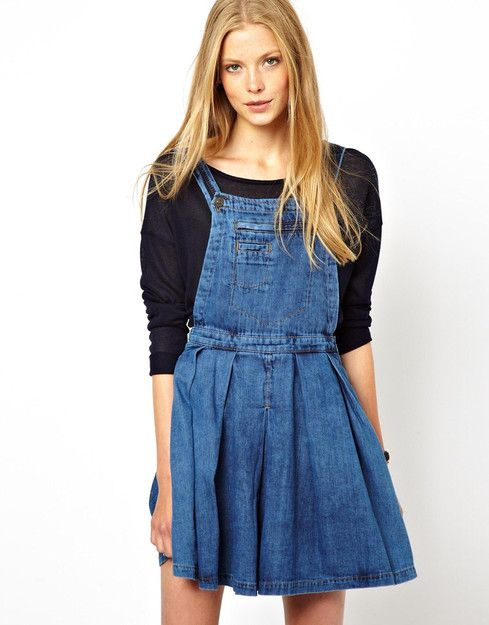 ASOS Denim Pinafore Dress with Pleated Skirt