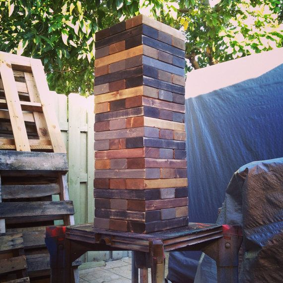 Giant Jenga Game with a Vintage Twist by CarvedWoodworks on Etsy, $175.00