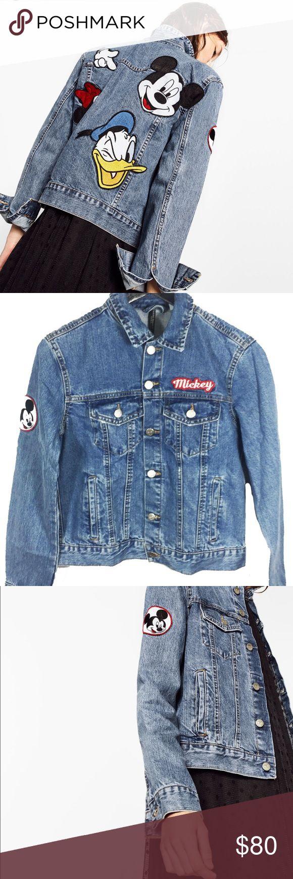 Denim Disney Mickey jacket! Disney denim jacket, with Mickey patches on it. Size S, fits true to size! Zara Jackets & Coats Jean Jackets