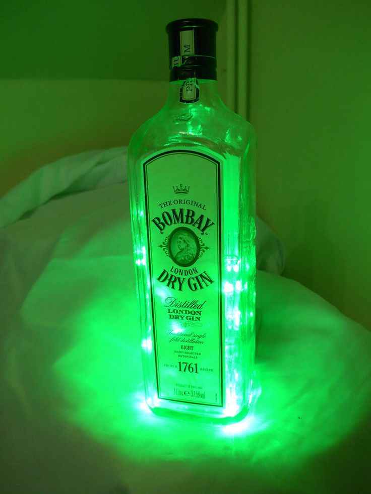 Green LED Bombay Gin Bottle Light (upcycle Christmas gift party decoration lamp)