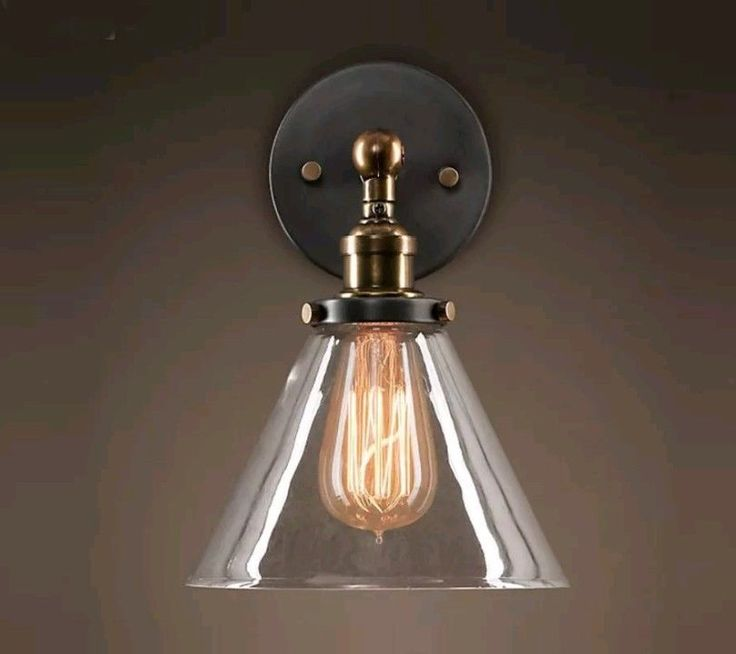 Features:  1. Vintage Industrial style 2. Warm light 3. Light weight and durable 4. Anti-static 5. Wall sconce is ready to install  Specification:  ● Color: Clear glass shade, Black ceiling base Brass Lamp holder ● Material: glass metal ● Glass Shade Size: Φ185*H240 mm,Φ7.28 x9.45 inches ● Base socket: E26 screw*1 ● Voltage: suitable for 110V-120V ● Fixture material: Metal ● Shade Material: Glass | eBay!