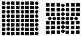 Zie tekening 2:  Iedereen ziet een kruis in het midden in bolletjes en 4 vierkanten in  vierkantjes aan de zijkant, in plaats van een rij met 3 vierkanten-één bolletje-3 vierkanten.