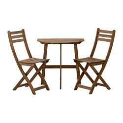 ASKHOLMEN, Wall table+2 folding chairs,outdoor, gray-brown stained gray/brown