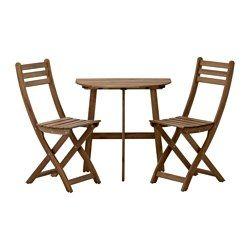 ASKHOLMEN balkontafel+2 klapstoelen, buiten, bruin gelazuurd, grijs