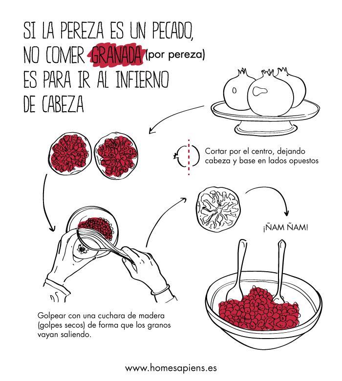Llega el otoño y el mejor postre que existe... ¡Con este truco ya no te dará pereza pelar la granada! http://homesapiens.es/2012/11/el-truco-de-la-granada/