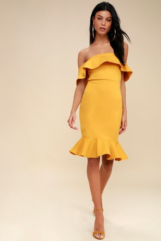 554c5c596d4b Confidence Boost Mustard Yellow Off-the-Shoulder Bodycon Dress 1