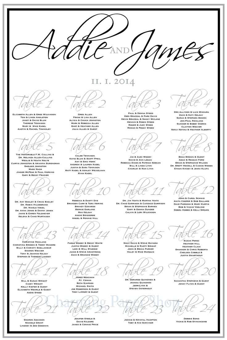 The Best Custom Wedding Seating Boards Images On Pinterest - Table assignment template