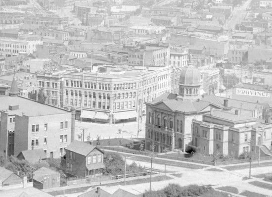 The Flack Block - 1900. Vancouver's former court house is clearly visible to the right where Victory Square is today.