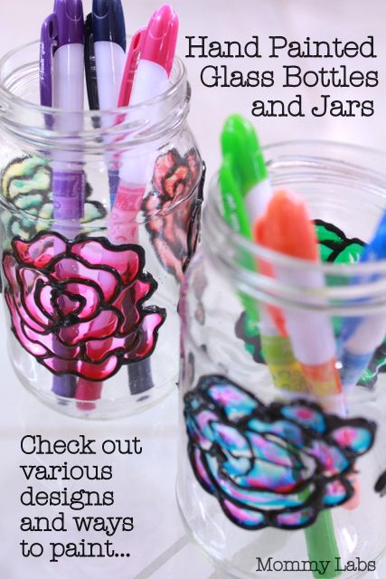 Hand Painted Glass Bottles and Jars. Check out the various designs and ways that you can paint, from http://www.mommy-labs.com/