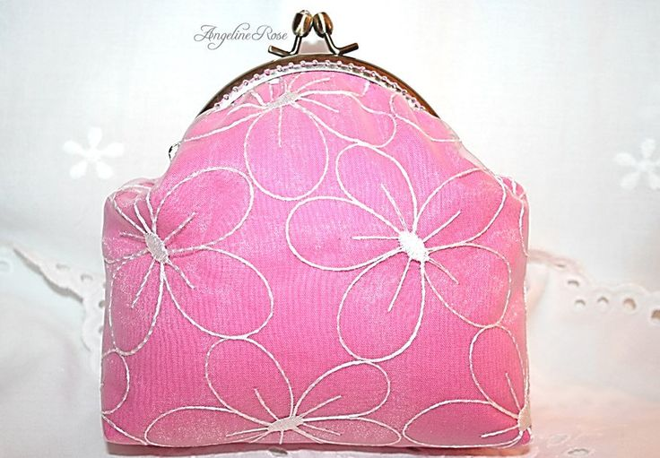 pink purse with white flowers, pink clutch, cosmetic bag, make-up bag, angeline rose purse, unique handmade kiss lock little bag by AngelineRosePurse on Etsy