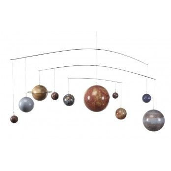 "Represent Outer Space In Your Own Space  The Solar System Mobile is an intriguing addition to any room that will delight everyone young and old.  It has nine detailed, colorful planets that follow their actual orbit paths as they spin independently of one another.  The mobile is sturdy and durable.  Size: 54""W x 17""H x 7""D."